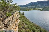 sandstone cliff and cove - Horsetooth Reservoir near Fort Collins, Colorado, at springtime poster