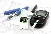 Insulin test strips and blood glucose meter diabetic blog poster