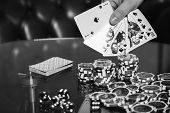 Poker cards and chips on the table. Card game, poker game. Casino games, card games, cards. The concept of the game in the gambling. poster
