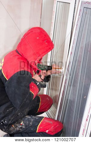 Perm, Russia, November 19.2015:installation Of  Plastic Window