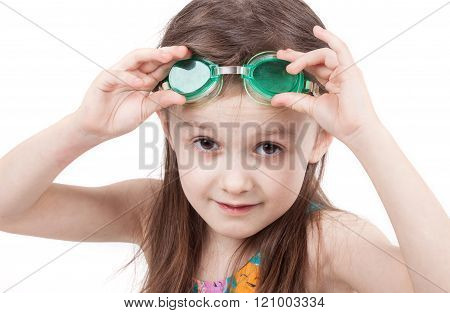 Young girl in swimsuit and glasses isolated on white background