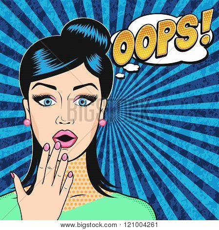 Vector Pop art surprised woman face with open mouth and OOPS word bubble in retro comic style