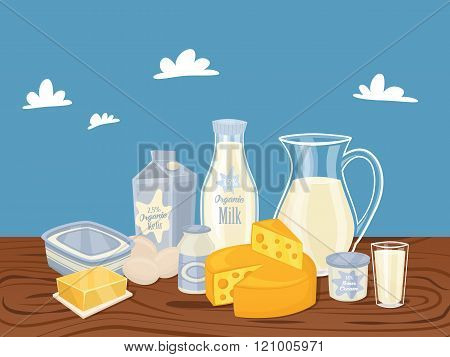 Dairy products isolated, vector illustration. Milk product on wooden table. Healthy food. Organic food. Organic farmers food. Organic food and dairy product concept. Milk product icon. Cartoon dairy product. Dairy icon.