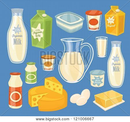 Dairy products isolated, vector illustration. Milk product icons collection. Healthy food. Organic food. Organic farmers food. Organic food and dairy product concept. Milk product icon. Cartoon dairy product. Dairy icon.
