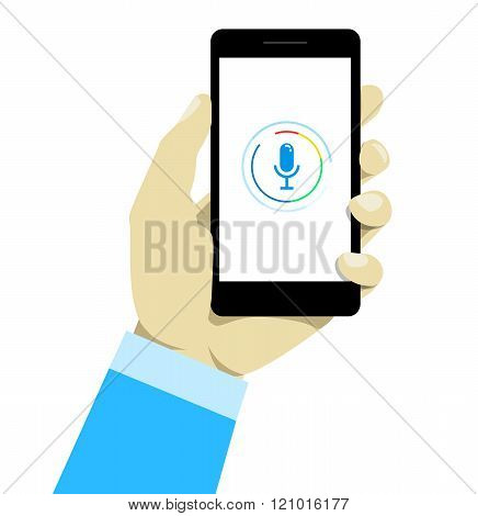 Hand holding mobile smart phone with voice control technology. Concept of modern technology of speech recognition. poster