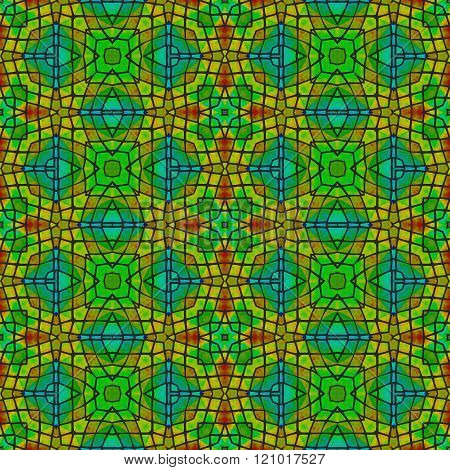 Orange yellow blue green decorative floral fractal arabian tile