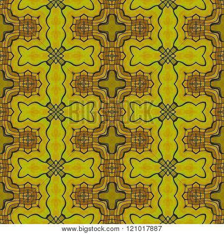 Kaleidoscopic decorative floral fractal arabian gold tile