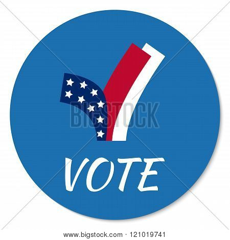 Vector voting campaign election pin button or badge. Concepr for infographics, blog headers, flyers, or bages. poster