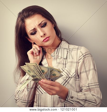 Concentrated Thinking Business Woman Thinking Where Invest Money And How To Earning More Dollars. To