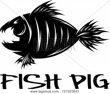 Fish And Pig Negative Space Vector Concept