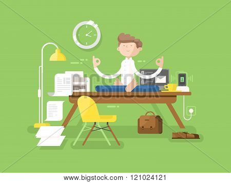 Meditation businessman in office