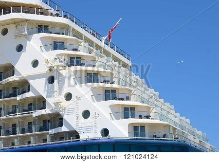 Bari, Italy. June 5, 2014: Big Cruise ship docked in port of Bari, prow detail