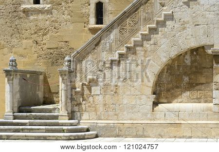 Wonderful stone staircase in the courtyard