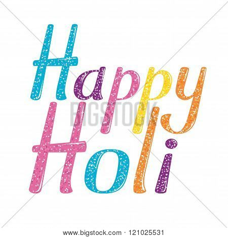 Happy Holi vector lettering