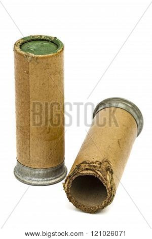 Old And New Signal Cartridges For Flare Gun, Isolated On White Background