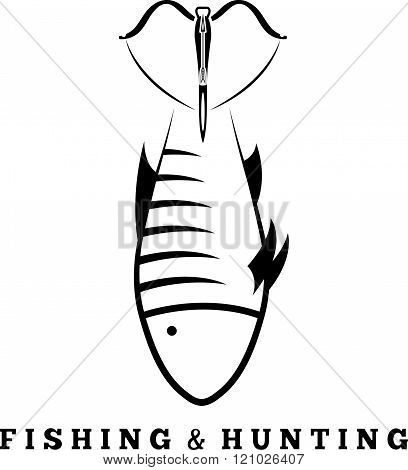 Fishing And Hunting Concept With Fish And Crossbow