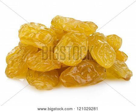 Yellow Sultanas Raisins Close-up Isolated On A White Background.