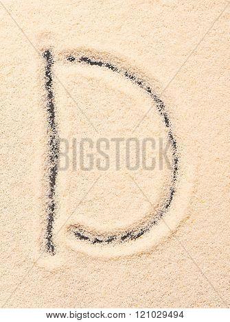 D Letter Written On Sand