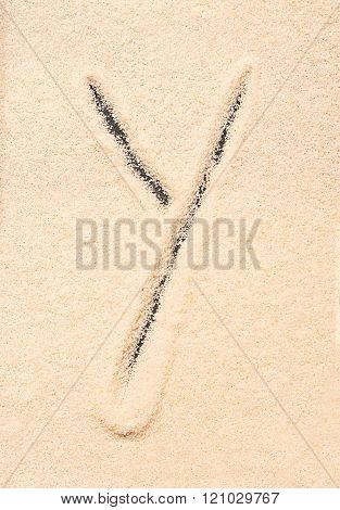 Y Letter Written On Sand