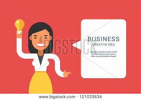 Business Concepts With Businessman Cartoon Character. Businesswoman With Speech Bubble. Creative Ide