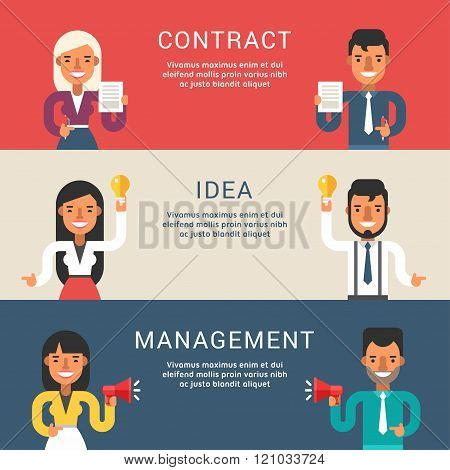 Set Of Business Concepts For Web Banners With Cartoon Businessman Character. Contract, Idea, Managem