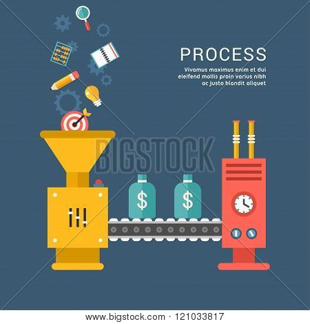 Conveyor System With Business Icons. Making Money. Cpnceptual Illustration.  Flat Style Vector Illus