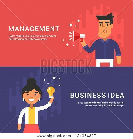 Managment And Business Idea Concepts. Male And Female Cartoon Characters. Set Of Web Banners. Flat S