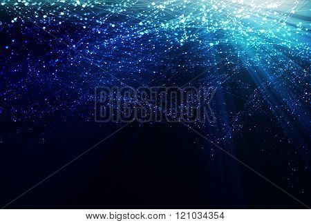 Vector polygonal abstract illustration. Sun burst background. Polygonal mesh forming underwater effect, expressing calm and relaxation.