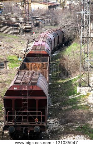 Cargo wagons on railroad