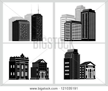 Building icons set. Vector illustration.