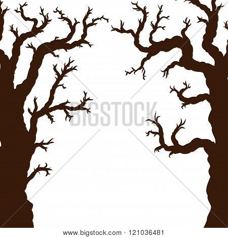 Silhouettes Of Halloween Trees, Bare Spooky Scary Halloween Tree. Vector Illustration.