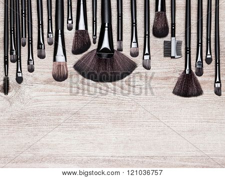 Set Of Various Natural Bristle Makeup Brushes