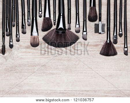 Set Of Various Natural Bristle Makeup Brushes