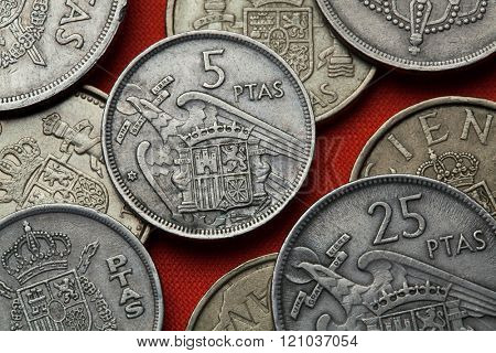 Coins of Spain. Coat of arms of Spain under Franco depicted in the Spanish five peseta coin (1957).