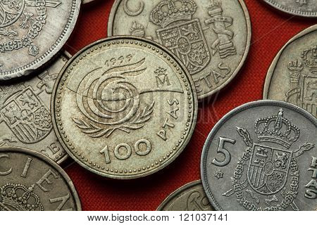 Coins of Spain. Emblem for the 1999 International Year of the Older Persons depicted in the Spanish 100 peseta coin (1999).