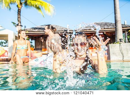Friends Partying Swimming Pool