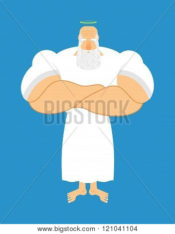 Strong God. Halo Above His Head. Santa With Big Grey Beard. Old Jock, Athlete. Old Man Fitness. Good