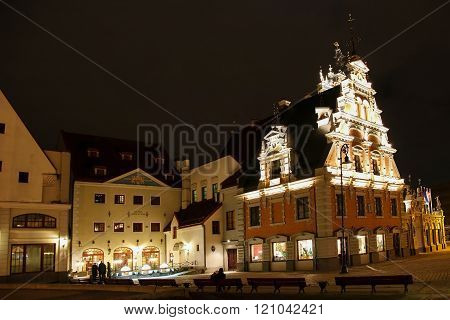 Town Hall Square In Riga At Night. Latvia