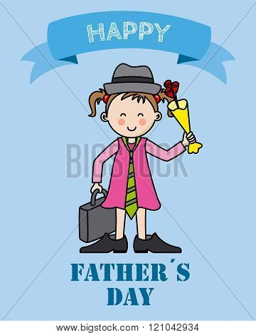 happy fathers day. Girl dressed in father's clothing and flowers in hand