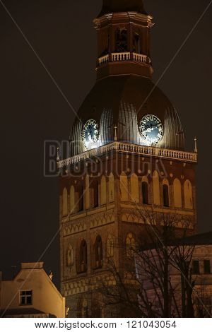 Riga Dome Cathedral At Night, Riga, Latvia