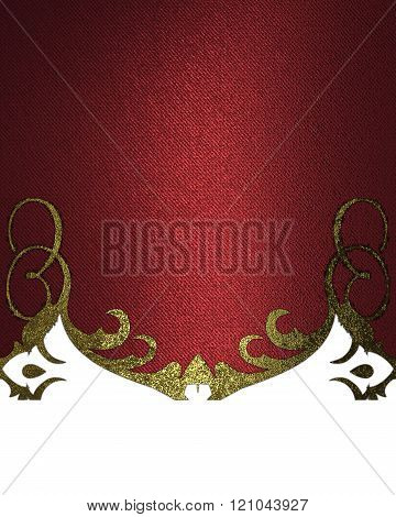 Red texture with gold pattern. Element for design. Template for design. copy space for ad brochure o