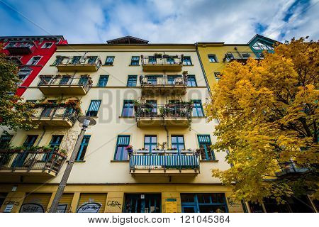 Autumn Color And Buildings Along Dunckerstraße, In Prenzlauer Berg, Berlin, Germany.