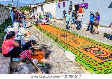 Street Of Locals Making Lent Carpets, Antigua, Guatemala