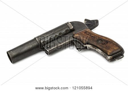 Old Signal Pistol, Flare Gun With The Hammer Cocked, Isolated On White