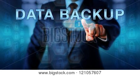 Corporate Computer User Touching DATA BACKUP