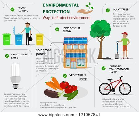 Environmental protection infographic. Flat concept of ways to protect environment.