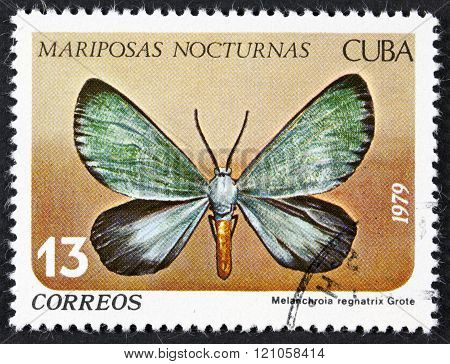 CUBA - CIRCA 1979: A stamp printed in Cuba shows butterfly with the inscription Melanchroia regnatrix, series, circa 1979.