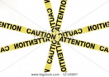 Warning sign Caution Attention, studio isolated on white background poster