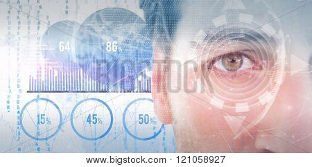 Close up of unsmiling man against blue data