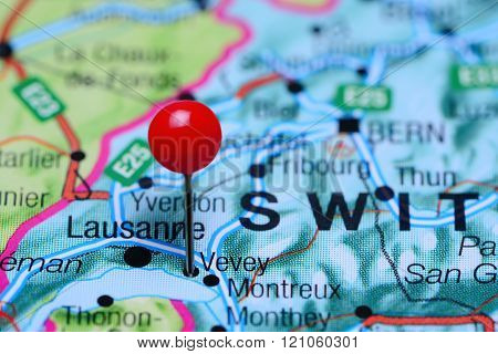Vevey pinned on a map of Switzerland
